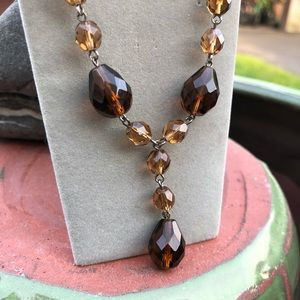 Vintage Mocha Brown Cut Glass Necklace